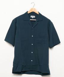 ベーシックカラー レギュラーシルエット ストレッチ素材オープンカラー半袖シャツグリーン
