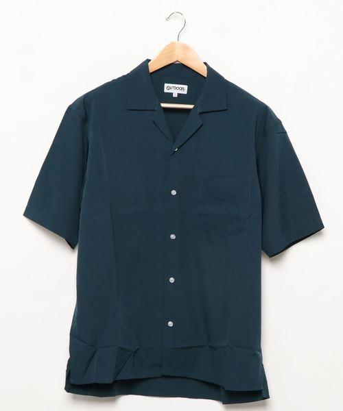 ベーシックカラー レギュラーシルエット ストレッチ素材オープンカラー半袖シャツ