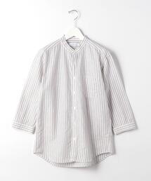 CM 綿 麻 ストライプ バンドカラー 7分袖 シャツ