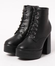 Mafmof(マフモフ)のMafmof(マフモフ) BLACKレースアップ厚底ブーツ(ブーツ)