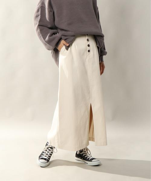 notch.(ノッチ)の「ツイルロングスカート(スカート)」|オフホワイト