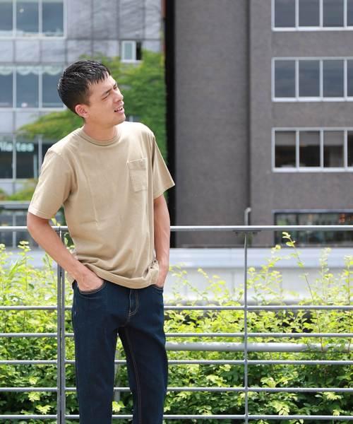 ライオン刺繍ピグメント加工ポケットTシャツ