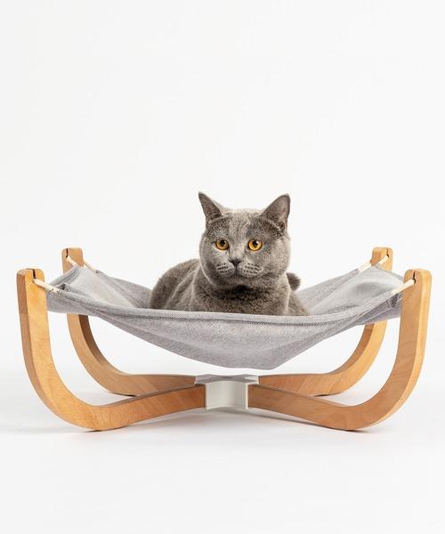 猫用ベッド スタンド型 ハンモック 木製