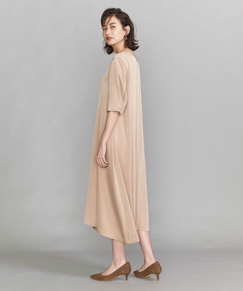BY DRESS サテンAライン5分袖ドレス ◆