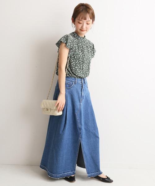 [IENA] LE DENIM フロントスリットフレアロングスカート【洗濯機使用可能】◆