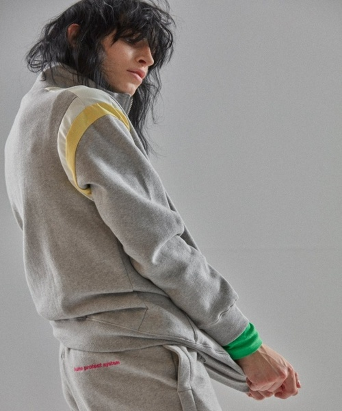 【MIMICAWE】カラー ブロック ジップアップ スウェットシャツ