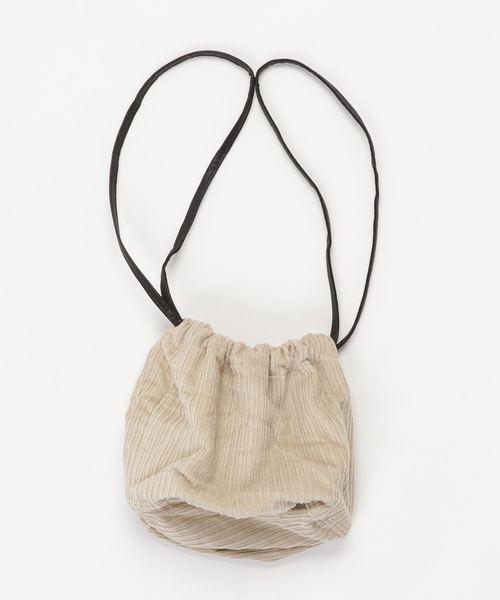 Ober Tashe(オーバータッシェ)コーデュロイ巾着ショルダーバッグ