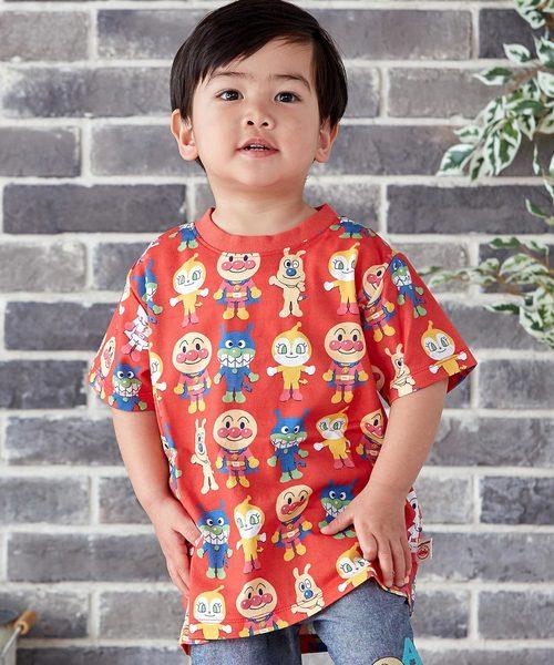 ANPANMAN KIDS COLLECTION(アンパンマンキッズコレクション)の「【アンパンマン】アート総柄Tシャツ(Tシャツ/カットソー)」|レッド