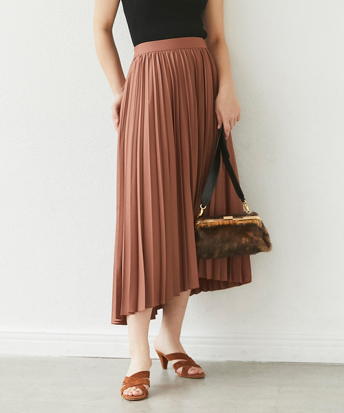 GALLARDAGALANTE(ガリャルダガランテ)の「イレギュラープリーツスカート(スカート)」|ブラウン