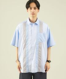 ★ [ GLR/ lab ] パッチワーク 半袖 シャツ