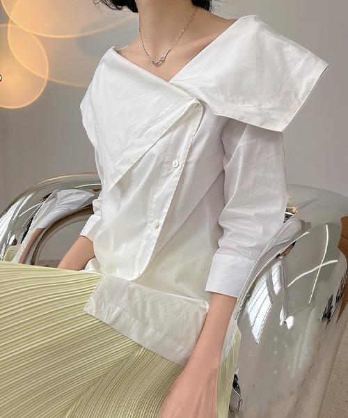 【chuclla】Asymmetry big lapel blouse chw1558