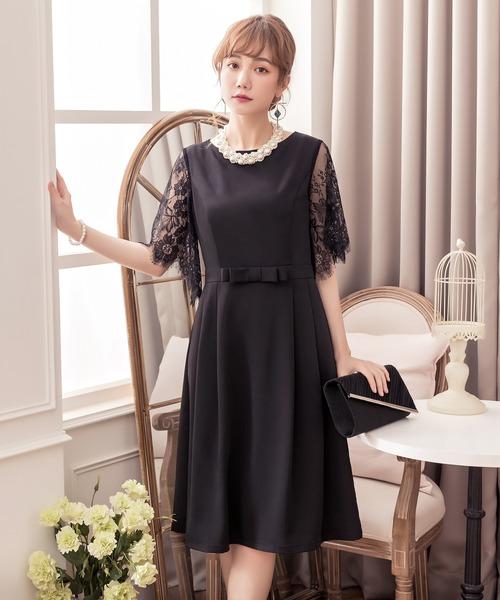 bce0b0bf5ee6c5 DRESS STAR(ドレス スター)のレーススリーブパーティードレス(ドレス)