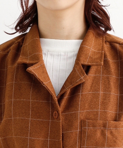 グラフチェック柄オープンカラーシャツ1706