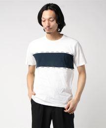 切替ロゴテープTシャツ ボーダー ライン ブランドロゴ ユニセックスホワイト