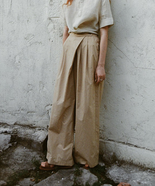 【LeonoraYang】Cotton stack wide pants chw1559