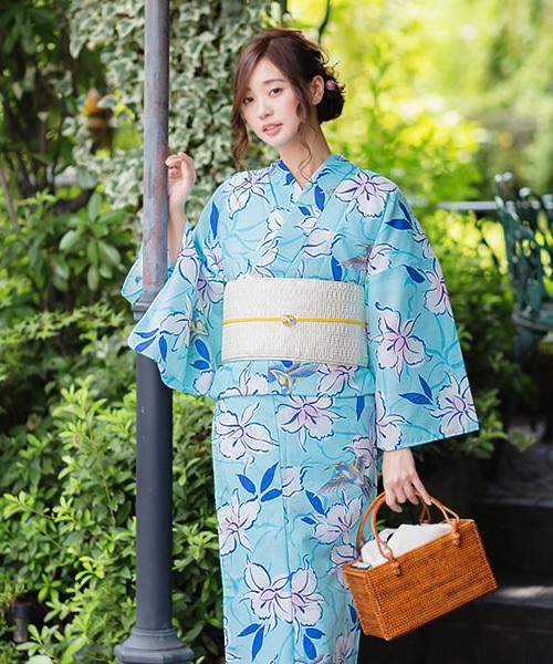 女性浴衣単品 水色 ハチドリと花