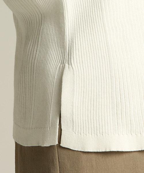 毛羽の少ない上質な綿を使用したパネルリブニットカーディガン