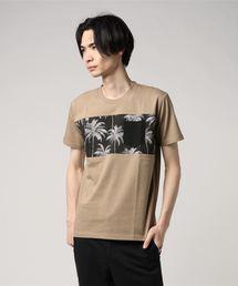 ZERO STAIN プリント切替Tシャツ 汗ジミが目立たない機能 ユニセックスベージュ