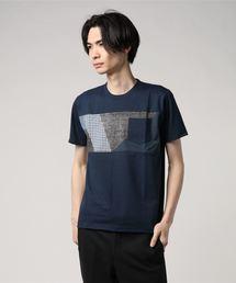 ZERO STAIN プリント切替Tシャツ 汗ジミが目立たない機能 ユニセックスブルー系その他