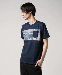 ZERO STAIN プリント切替Tシャツ 汗ジミが目立たない機能 ユニセックスネイビー