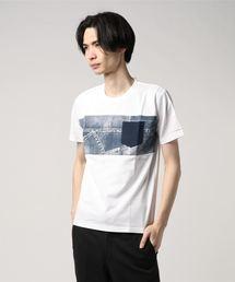 ZERO STAIN プリント切替Tシャツ 汗ジミが目立たない機能 ユニセックスホワイト