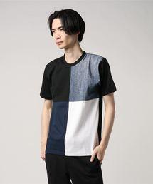 ZERO STAIN プリント切替Tシャツ 汗ジミが目立たない機能 ユニセックスブラック