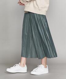 BY∴ レザーライクサテンプリーツスカート