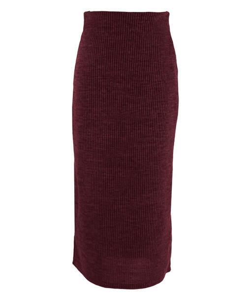 reca(レカ)の「リブニット ウエストゴムタイトスカート(スカート)」|ボルドー