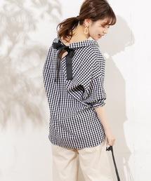 natural couture(ナチュラルクチュール)のバックリボンミリタリーシャツブラウス(シャツ/ブラウス)