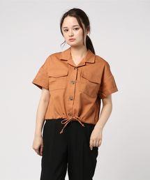 裾ドロスト半袖シャツオレンジ