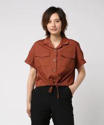 裾ドロスト半袖シャツダークブラウン