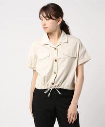 裾ドロスト半袖シャツオフホワイト