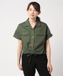 裾ドロスト半袖シャツライトグリーン