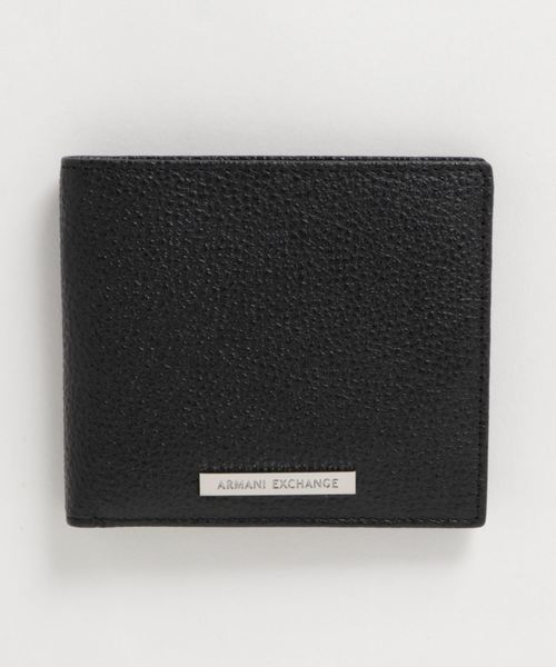 【A|Xアルマーニ エクスチェンジ】ロゴプレート 二つ折り財布