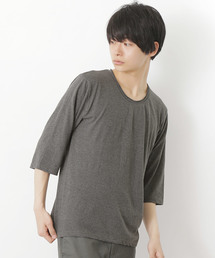 MONO-MART(モノマート)のツインロールネック Uネックカットソー T/C(3/4スリーブ)(Tシャツ/カットソー)