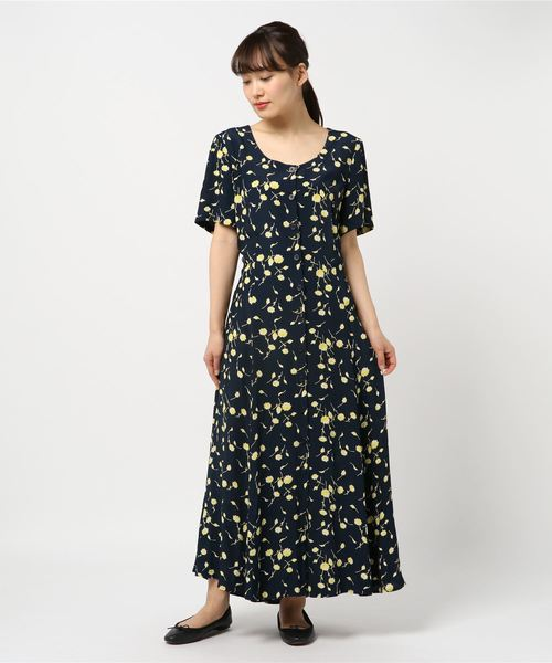 VINTAGE/古着 花柄ワンピース BLACK FLOWER PRINTED DRESS