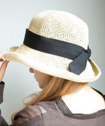 14+(イチヨンプラス)のセーラーリボン麦わらハット / 14+オリジナル レディース 帽子 HAT UVハット つば広 親子 リンクコーデ(ハット)
