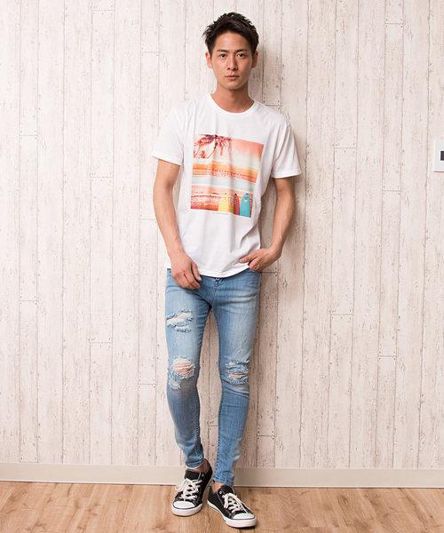 プリントクルーネック半袖Tシャツ / CAST18-74