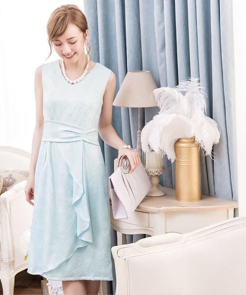 DRESS STAR(ドレス スター)の「ダイヤ柄サイドフリルノースリーブワンピース(ドレス)」|ライトブルー