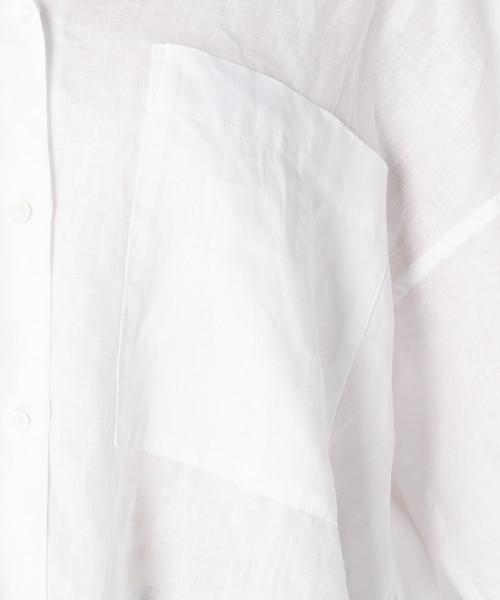 【手洗い可能】 80リネン ワイドクロップドシャツ