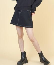 SPINNS(スピンズ)の配色ステッチミニスカート(スカート)