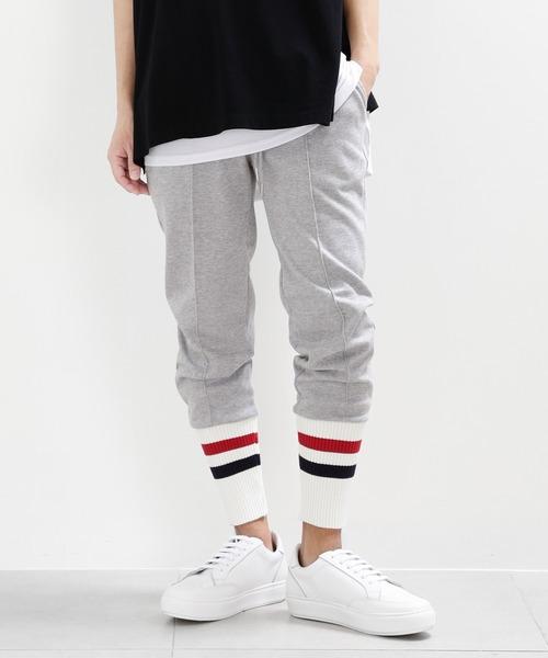 minsobi(ミンソビ)の「【minsobi】リブニット裾ジョガーパンツ(その他パンツ)」 ホワイト×グレー