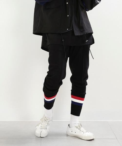 minsobi(ミンソビ)の「【minsobi】リブニット裾ジョガーパンツ(その他パンツ)」 ブラック×ブラック
