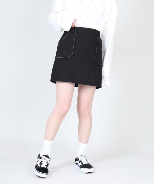 DING(ディング)の「DING/ステッチスカート(スカート)」|ブラック