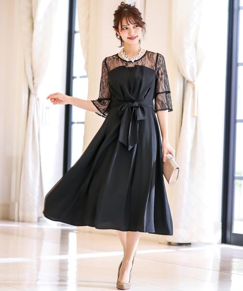 Fashion Letter(ファッションレター)の「レース切替えウエストリボン フレアスカート ワンピース/結婚式・謝恩会・お呼ばれパーティードレス(ドレス)」|ブラック