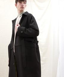 2WAY TRストレッチオーバーサイズ ラグラン スプリングステンカラートレンチコート【EMMA CLOTHES/エマクローズ】 2021 S/Sブラック