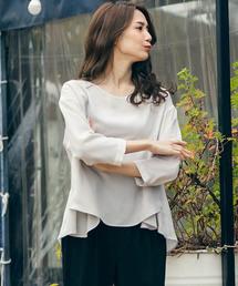LAUTREAMONT(ロートレ・アモン)のフレアディテールが女性らしい印象の7分袖モードブラウス(シャツ/ブラウス)