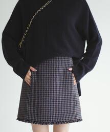 EMMEL REFINES(エメルリファインズ)の◆FC MIXツイード フリンジミニスカート(スカート)