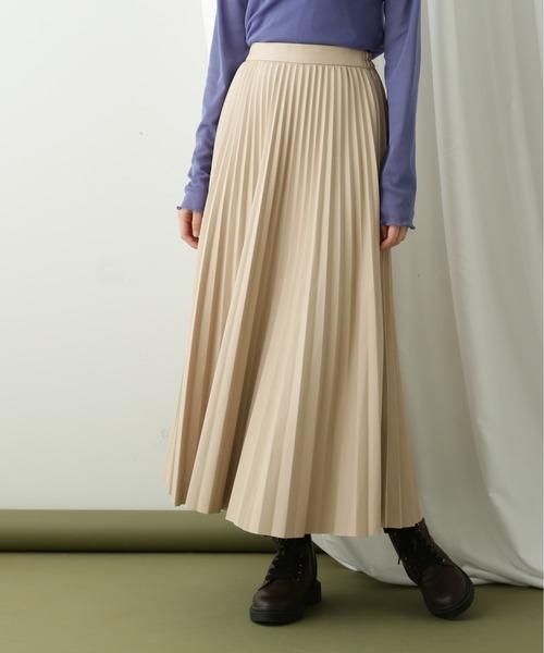 Ray Cassin(レイカズン)の「【WEB限定】エコレザープリーツスカート(スカート)」|ベージュ