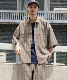 【セットアップ】テックリネン オーバーサイズ 半袖CPOシャツ&イージーシェフパンツ 2021SUMMERブラウン系その他